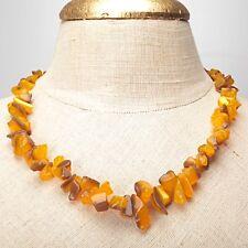 Kette Collier orange gelb leicht Kunststoff Perlen Vintage Modeschmuck 50 cm