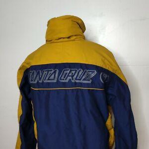 Vibtage y2k Santa Cruz Snowboards Jacket Blue and Gold Medium with Hood