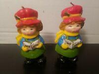 "Vintage Christmas Wax Figural Candles 5""  Set of 2 Carolers"