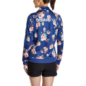 adidas Neo Teen Women's Floral Full Zip Track Jacket - Blue