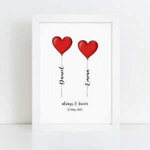 Personalised Print Wedding Gift Anniversary Gifts For Bride And Groom Couples