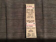 1986 Ferris State college unused hockey ticket vs Michigan State