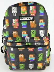Minecraft Characters Creeper All Over Print Black Backpack Kids School Book Bag
