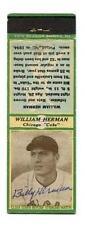1934 Diamond Matchbook Billy Herman Signed Chicago Cubs HOF