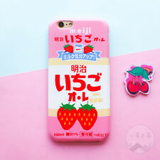 Cute Japanese Strawberry Milk Matte Hard Case Cover for iPhone X 5 6 6s 7 8 Plus for iPhone 6plus Pink