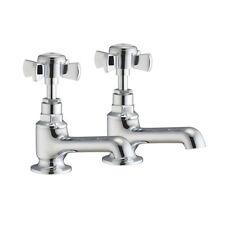 Traditional Cross Head Chrome Wash Basin Taps Pair for Bathroom *W