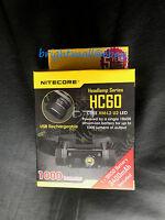 NEW NITECORE HC60 1000 LUMEN LED HEADLAM W/3400 MAH BATTERY(HC30,HC50,HC90)