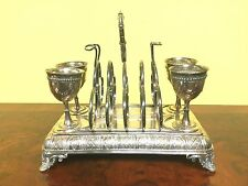 Antique English Breackfast Silver Plate Set For Toast & Eggs