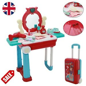 Girls toy vanity Make Up Desk With Case Pink Play Set Kids Dressing Table Toy