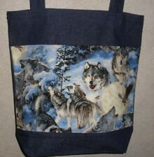NEW Handmade Large Wolf Pack Wolves Wildlife Snow Denim Tote Bag