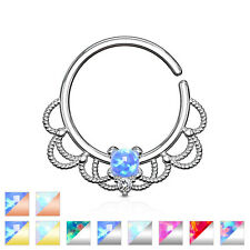 Opal Synthetic Bendable Septum Nose Daith Helix Cartilage Ear Hoop Ring 16g #319