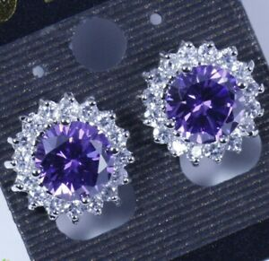 Silver Amethyst & CZ Flower Sun Stud Earrings