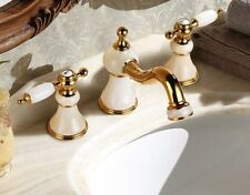 "Bathroom 8"" widespread Lav Sink faucet Gold clour Ceramic stone faucet White New"