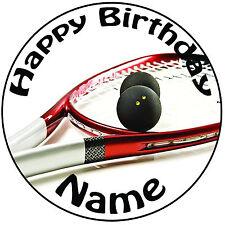 """Squash Raqueta Glaseado Cake Topper Personalizado Redondo fácil pelar Pre-Cut 8"""" (20cm)"""
