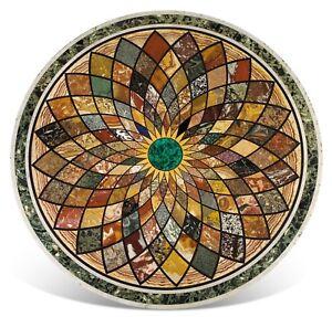 "60"" round Marble Table Top Pietra Dura Handmade Home Decor"