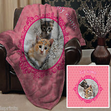Personalised Pink Cat Pet Photo Design Soft Fleece Blanket Cover Animal