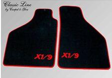 Fußmatten für Fiat X1/9  Velour Schwarz Logo X1/9 Rot