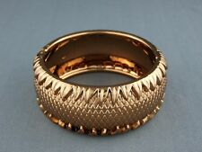 """shiny Copper bracelet hinged textured plastic bangle cuff 1.25""""  wide"""