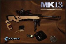 """ZY TOYS 1/6 Scale US MK13 Sniper Rifle Coyote Brown Fit for 12"""" action figure"""