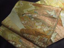Japanese Kimono SILK FUKURO OBI Flower PLUM PINE BIRD CRANE TURU  (4380-1680A)