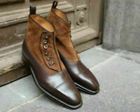 Handmade Men Brown Button Boots Two Tone Suede & Leather Ankle High Cap Toe Shoe