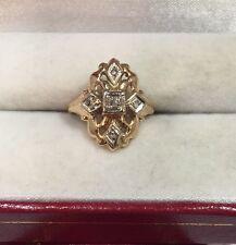 14k Yellow White Gold Diamond Pave Antique Vintage Cocktail Estate 585 Ring 5