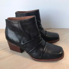 Kork Ease Kissel Black Leather Ankle Boots Size 8.5 M