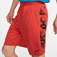 Nike Shorts Mens S to 2XL Red Authentic Dri Fit 2.0 Just Do It Graphic 9 Inch