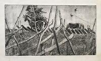 Karl Adser 1912-1995 Pferde auf der Koppel und Schwalben am Himmel Weide Sommer