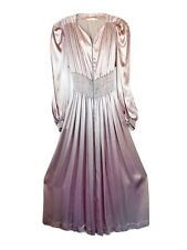 Vintage 1970s 80s Silver Long Sleeve Maxi Dress DISCO GLAM Sexy Size M/L Groovy