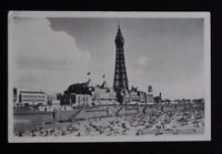 Vintage B/W Postcard - CENTRAL BEACH BLACKPOOL - pencil message written 1958