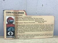 1983 GI Joe COBRA HISS Driver File Card