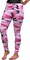 Women's Pink Camo Full Length Leggings, Stretch Body Shaper Army Spandex Pants