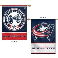 "COLUMBUS BLUE JACKETS 2 SIDED HOUSE FLAG 28""X40"" VERTICAL BANNER OUTDOOR RATED"