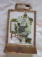 "Vintage Norman Rockwell ""Triple Self Portrait"" Ceramic Liquor Decanter 23K Gold"