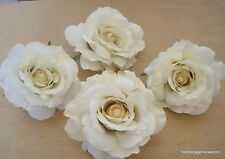 """Four Piece Lot Large 4 1/2"""" Cream White Rose Silk Flower Hair Clips,Bridal,Prom"""