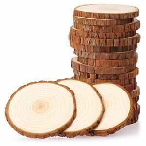 Wood Slices 20 Pcs 9-10cm NO Hole Natural Unfinished Log Wooden Circles