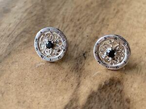 Thomas Sabo Genuine Circle Stud Earrings Silver And Black Cubic Zirconia