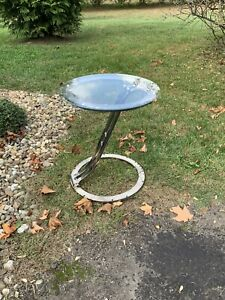 Vintage Chrome Accent Side End Table Retro Mcm Mid Century Glass Top Custom