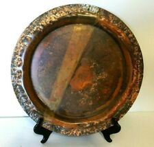 """Hammered Edge Solid Brass Bronze Plate Tray 13 1/2 """" Stand Included"""