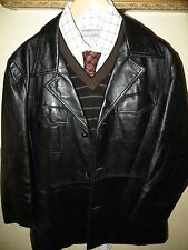Reed Mens Black Leather Fight Club 70's Mod Blazer Jacket Car Coat 38 Reg Hot