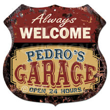 BPMG0177 Welcome PEDRO'S GARAGE Rustic Tin Sign Father's Day Gift Ideas For Man