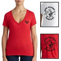 True Religion Women's Embellished Crystal Classic Buddha Logo V-Neck Tee T-Shirt