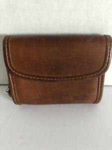 Vintage Coach British Tan Brown Leather Keychain id Coin Wallet