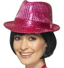 Adult Sequin Trilby Fancy Dress Party Hat Pink New by Smiffys