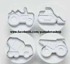 Construction Cars Vehicles Cookie Fondant Clay Cutter Plunger Mold