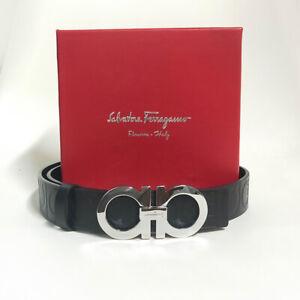 Salvatore Ferragamo Men's Silver Gancini Buckle Black Leather Belt