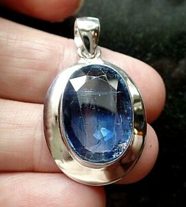 Chunky Sterling Silver and Mine Cut Kyanite Pendant 8.2g FAST POST
