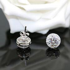 Fashion Round Crystal Silver Stud Earrings Women Crystal Zircon Ear