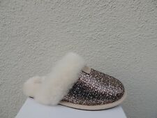UGG SCUFFETTE FRILL BRONZE TWEED SHEEPSKIN SLIPPERS, WOMEN US 10/ EUR 41 ~ NIB